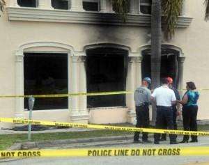Oficinas de Airlines Brokers en Coral Gables, luego del acto terrorista perpetrado en su contra..